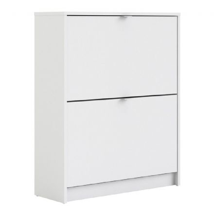 Shoes Shoe cabinet w. 2 tilting doors and 2 layers in White